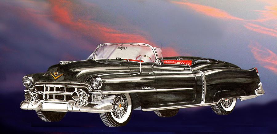 1953  Cadillac El Dorardo Convertible Painting by Jack Pumphrey