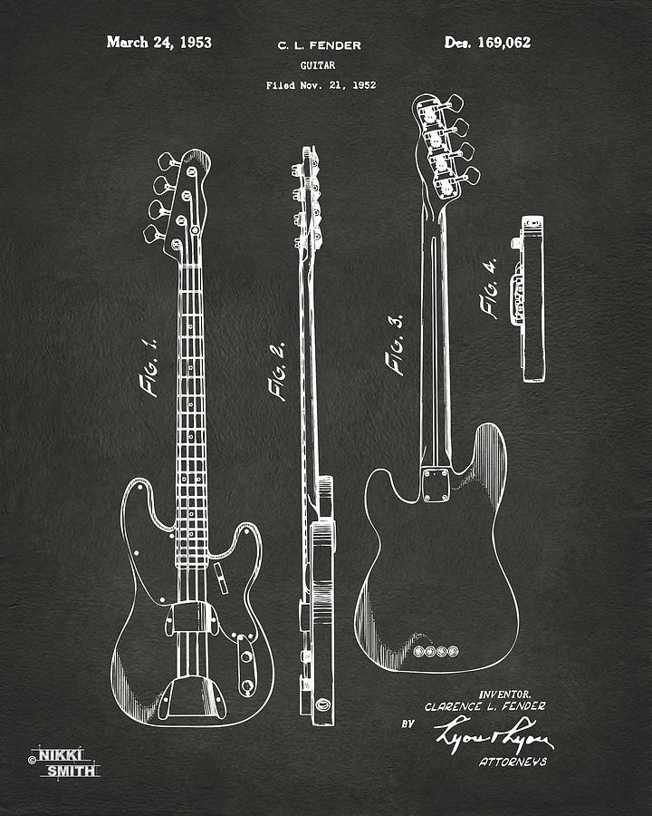 Fender Guitar Digital Art - 1953 Fender Bass Guitar Patent Artwork - Gray by Nikki Marie Smith