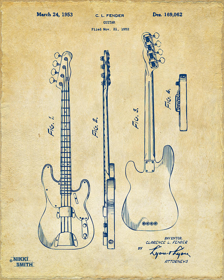 Fender Guitar Digital Art - 1953 Fender Bass Guitar Patent Artwork - Vintage by Nikki Marie Smith