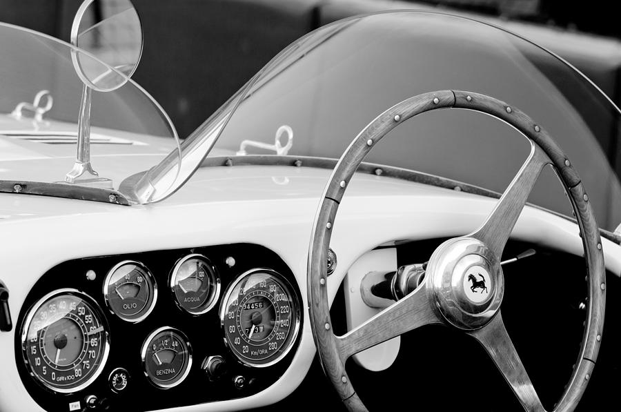 Ferrari Photograph - 1953 Ferrari 340 Mm Lemans Spyder Steering Wheel Emblem by Jill Reger