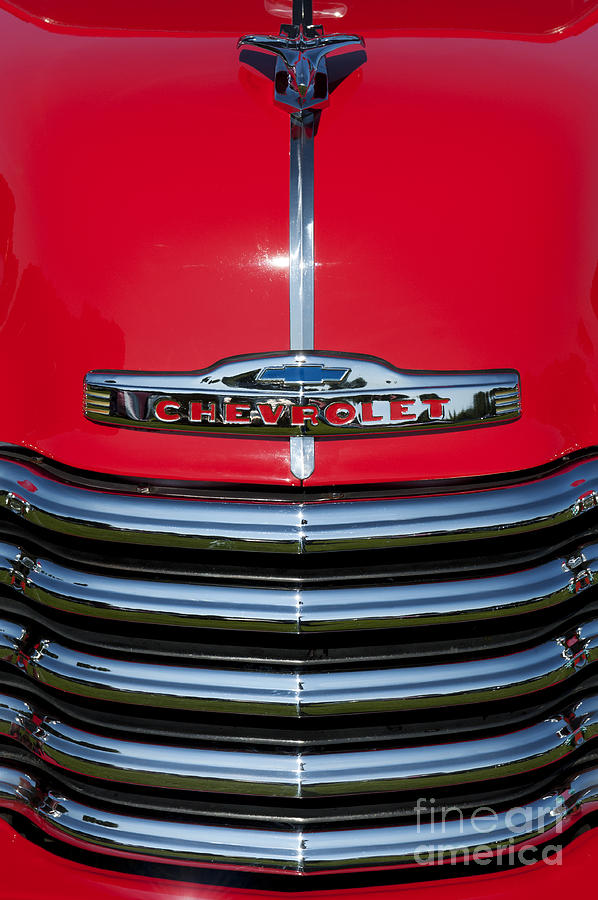 1953 Photograph - 1953 Red Chevrolet 3100 Pickup by Tim Gainey