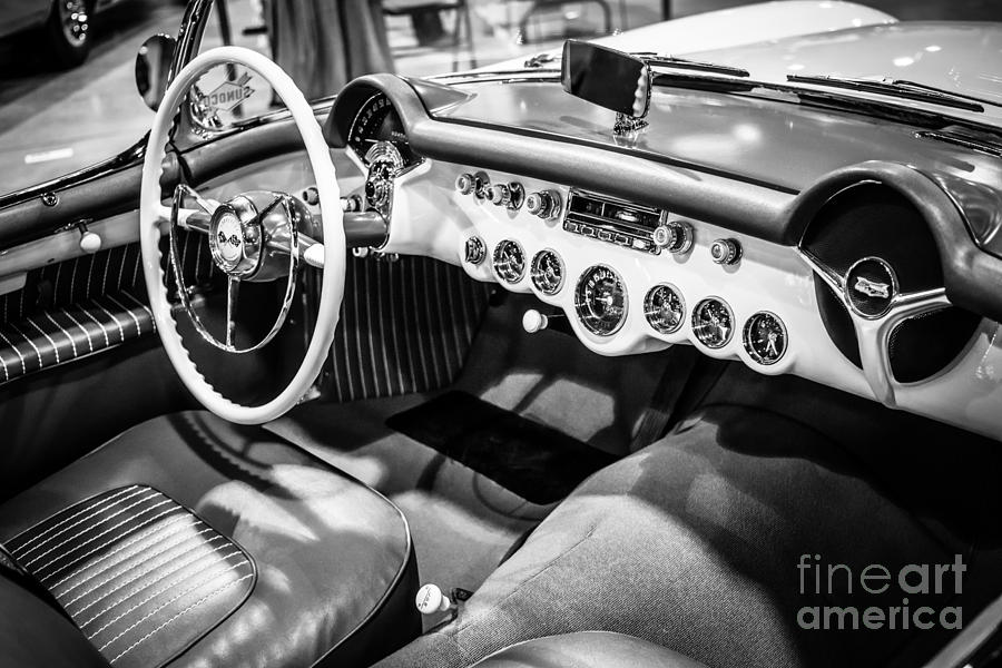 1950's Photograph - 1954 Chevrolet Corvette Interior Black And White Picture by Paul Velgos