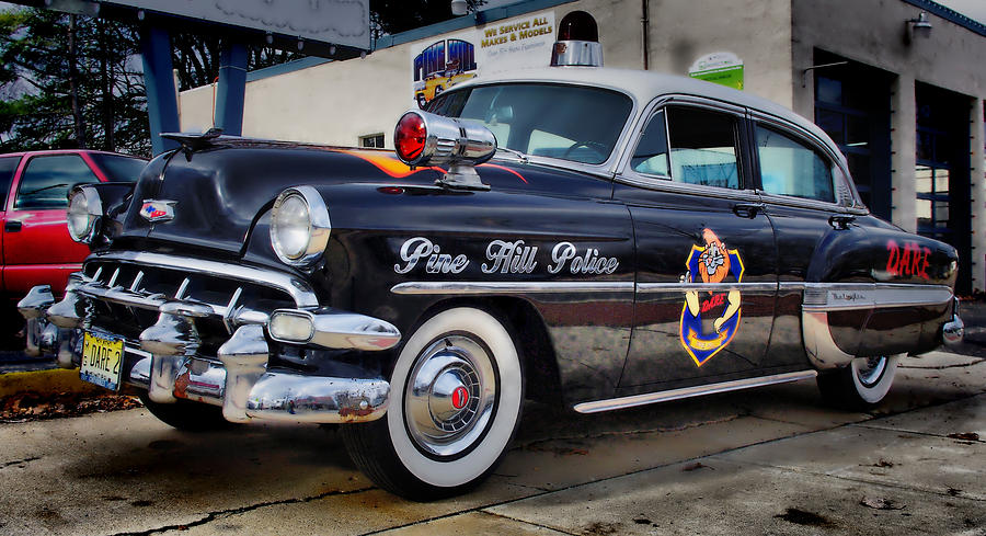 Vintage Police Cars Photograph - 1954 Chevy Dare Police Car  Pine Hill  Nj by Thomas  MacPherson Jr