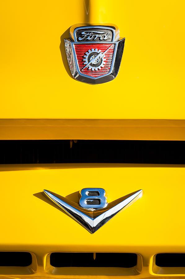 Ford Emblems Photograph - 1954 Ford F-100 Custom Pickup Truck Emblems by Jill Reger