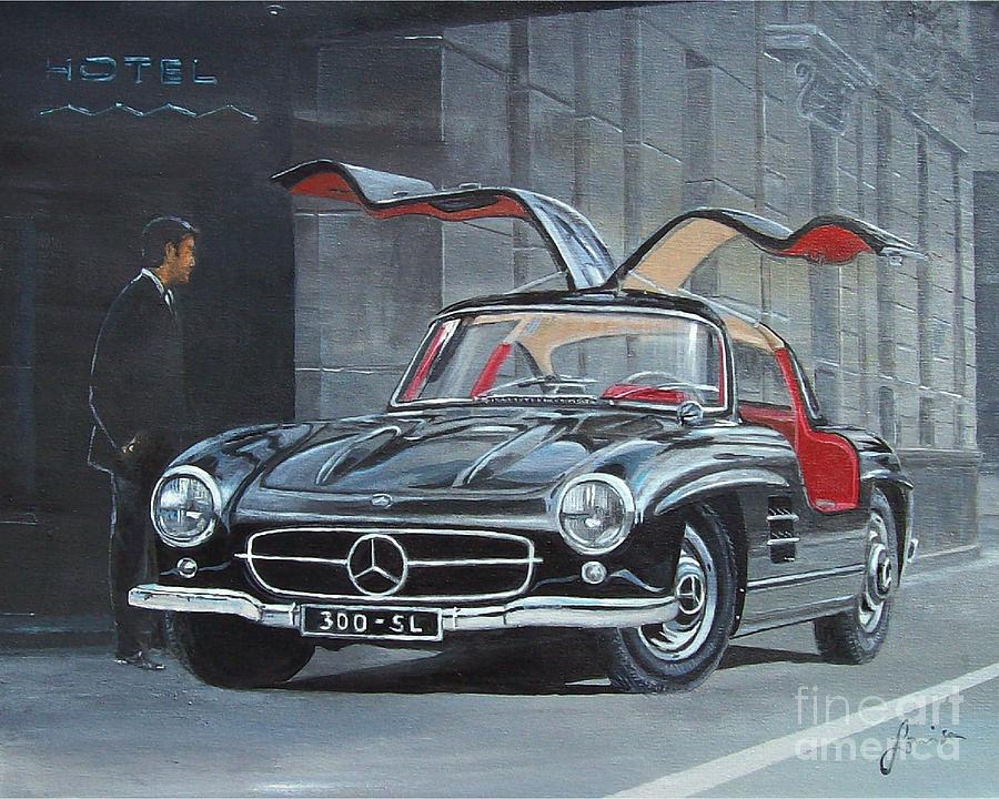 1954 mercedes benz 300 sl gullwing painting by sinisa saratlic for Mercedes benz poster