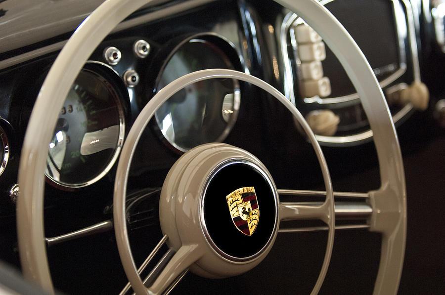 Steering Wheel Photograph - 1954 Porsche 356 Bent-window Coupe Steering Wheel Emblem by Jill Reger