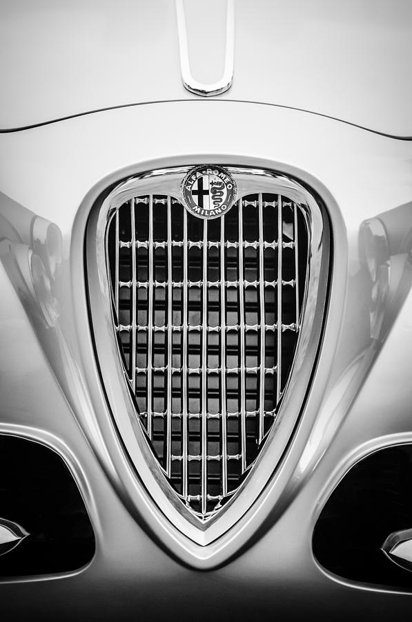 Bw Photograph - 1955 Alfa Romeo 1900 Css Ghia Aigle Cabriolet Grille Emblem -0564bw by Jill Reger