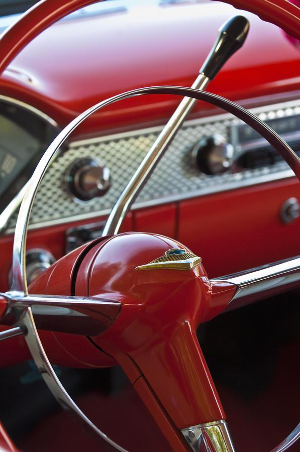 Car Photograph - 1955 Chevrolet Belair Nomad Steering Wheel by Jill Reger
