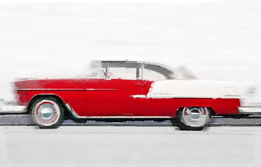 Chevy Bel Air Painting - 1955 Chevy Bel Air Watercolor by Naxart Studio