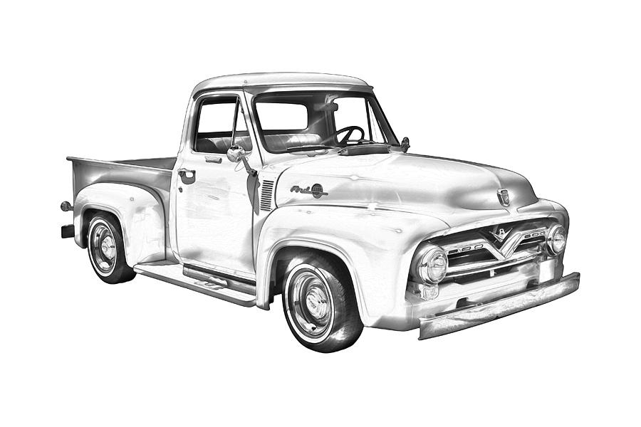1955 f100 ford pickup truck illustration photograph by