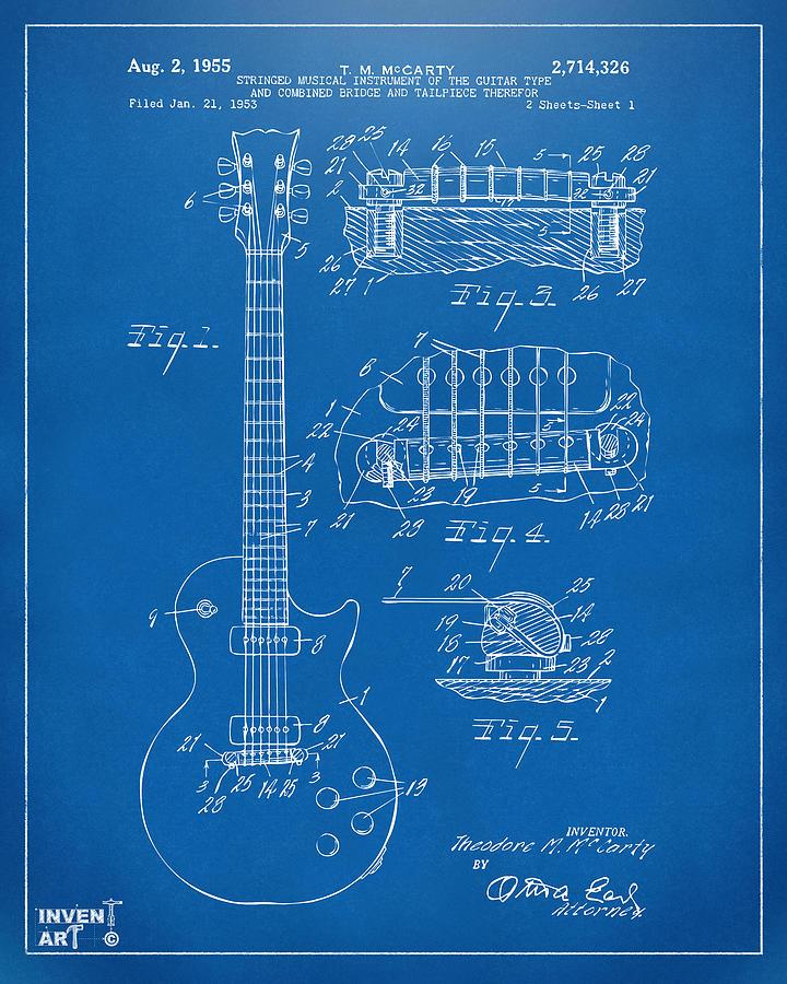 1955 Mccarty Gibson Les Paul Guitar Patent Artwork Blueprint Digital ...