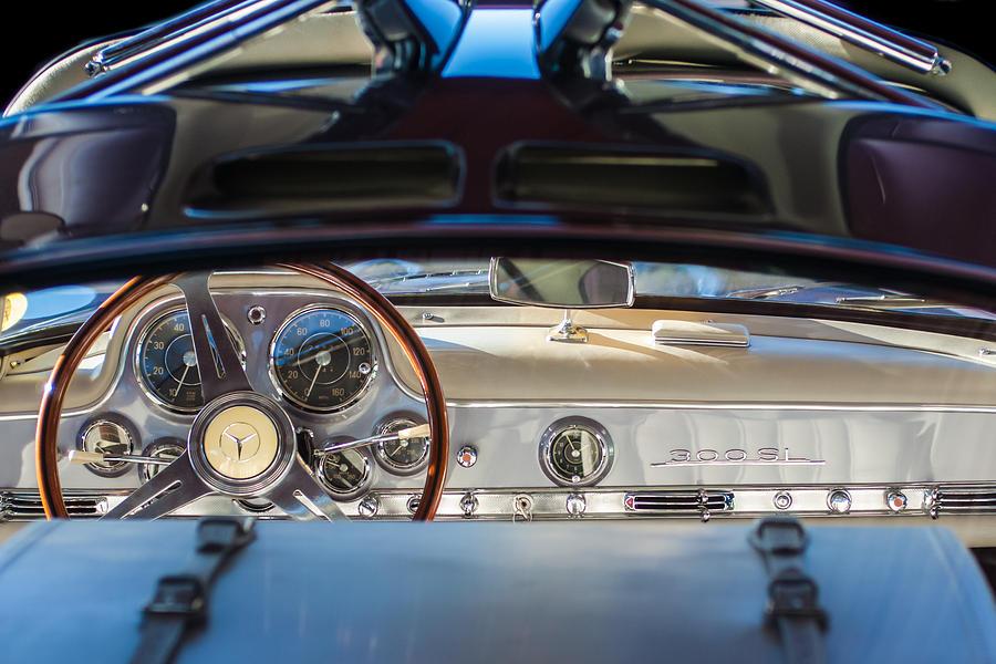 Steering Wheel Photograph - 1955 Mercedes-benz Gullwing Dashboard - Steering Wheel by Jill Reger
