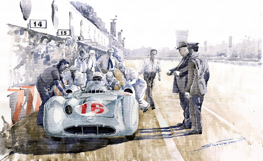 Watercolor Painting - 1955 Mercedes Benz W 196 Str Stirling Moss Italian Gp Monza by Yuriy  Shevchuk