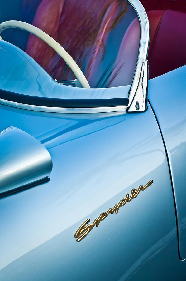 Porsche Photography Photograph - 1955 Porsche Spyder Emblem -0045c by Jill Reger