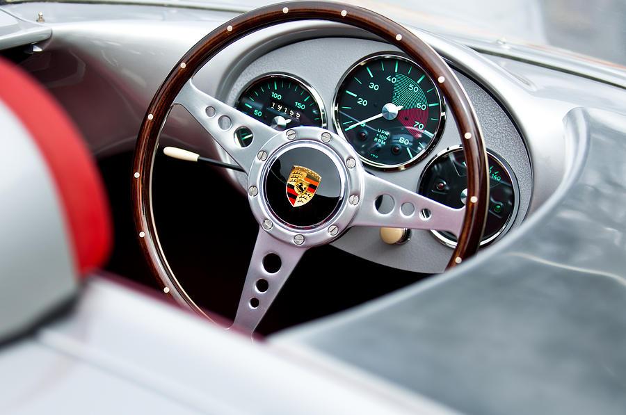 Steering Wheel Photograph - 1955 Porsche Spyder Replica Steering Wheel Emblem by Jill Reger