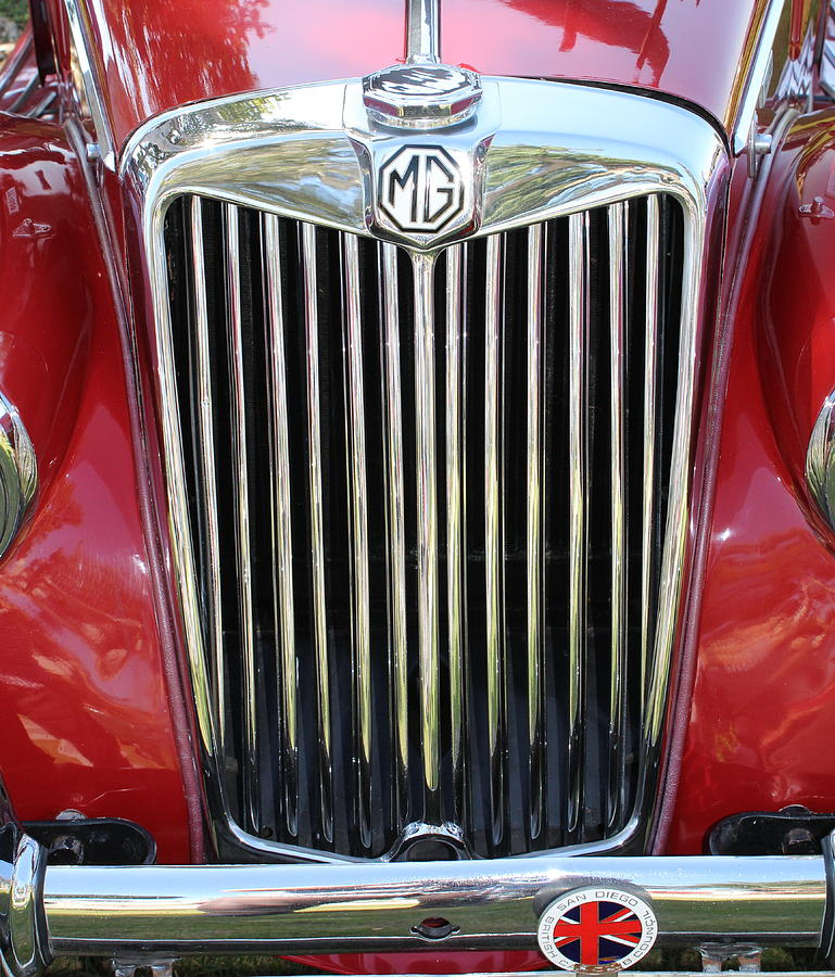 Automobile Photograph - 1955 Red Mg Grille by Mark Steven Burhart