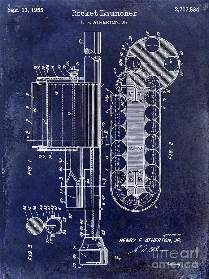 Rocket Launcher Photograph - 1955 Rocket Launcher Patent Drawing Blue by Jon Neidert