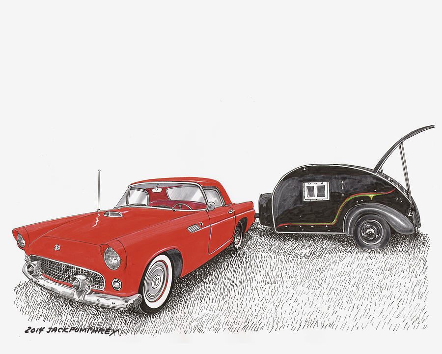 Camping Trailers Painting - 1955 Thunderbird And Kit Teardrop by Jack Pumphrey
