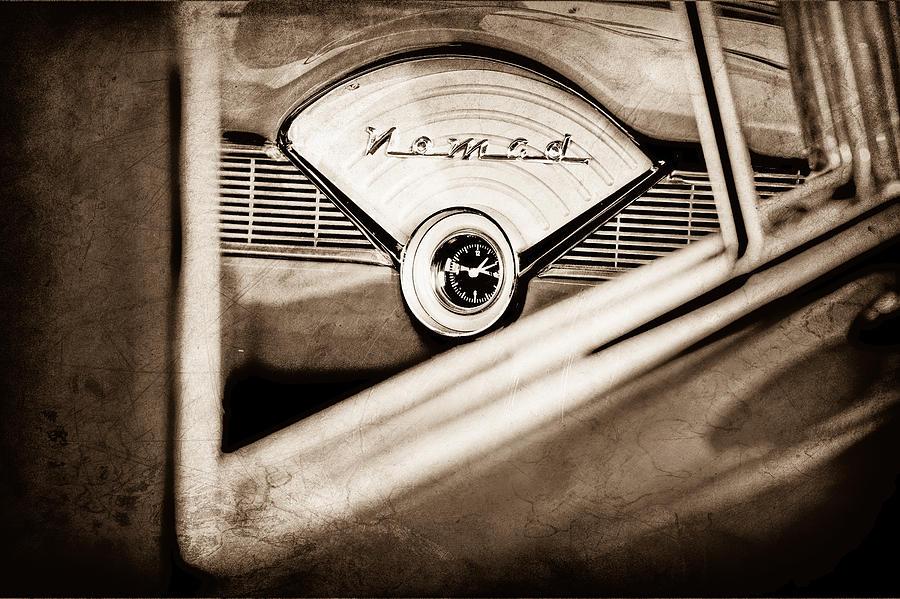 Old Cars Photograph - 1956 Chevrolet Belair Nomad Dashboard Emblem by Jill Reger