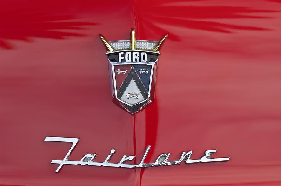 1956 Ford Fairlane Photograph - 1956 Ford Fairlane Hood Emblem by Jill Reger