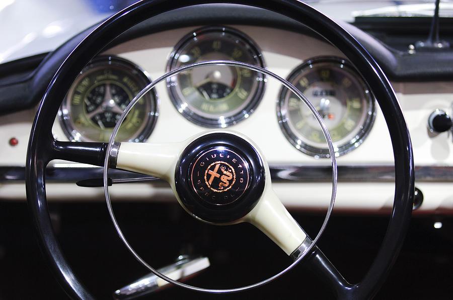 1957 Alfa Romeo Giulietta Spider Steering Wheel Emblem Photograph By Jill Reger