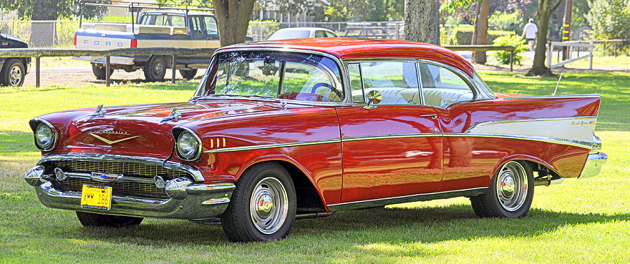 Cars Photograph - 1957 Cherry Red Chevy by AJ  Schibig