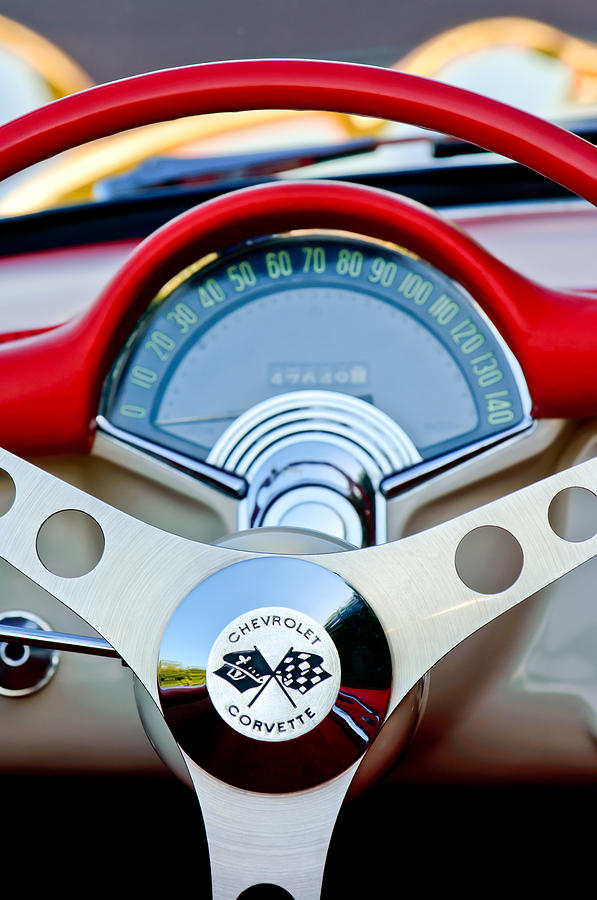 Car Photograph - 1957 Chevrolet Corvette Convertible Steering Wheel by Jill Reger