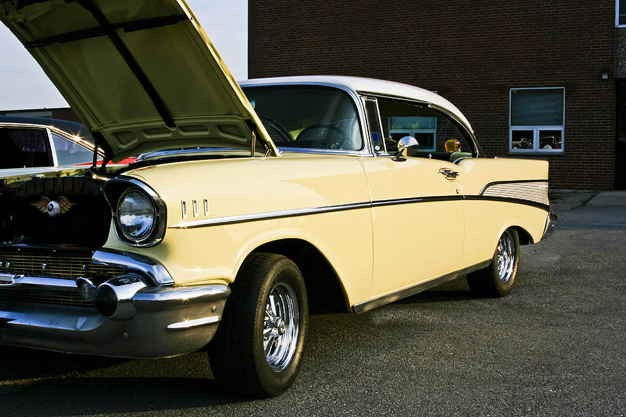1957 Chevy Bel Air Yellow Down The Side Photograph By Dennis Coates