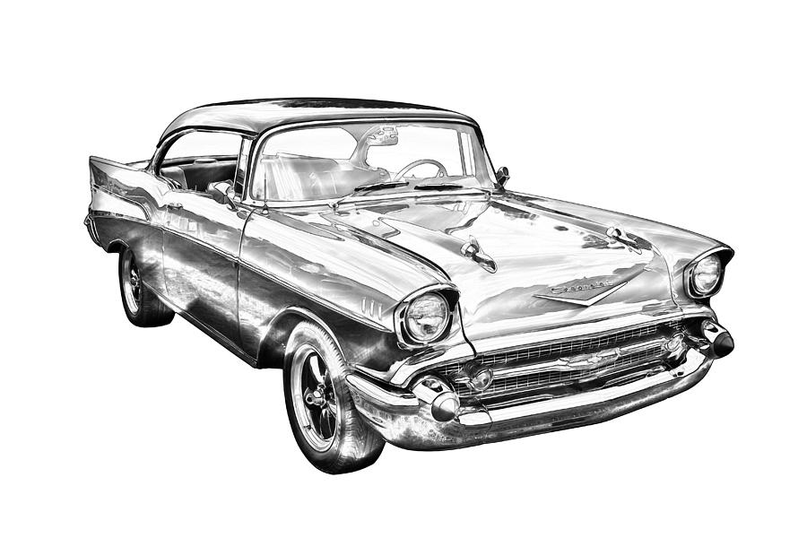 1957 Chevy Bel Air Illustration Photograph by Keith Webber Jr