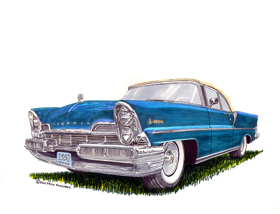 1957 Lincoln Premiere Convert Painting By Jack Pumphrey