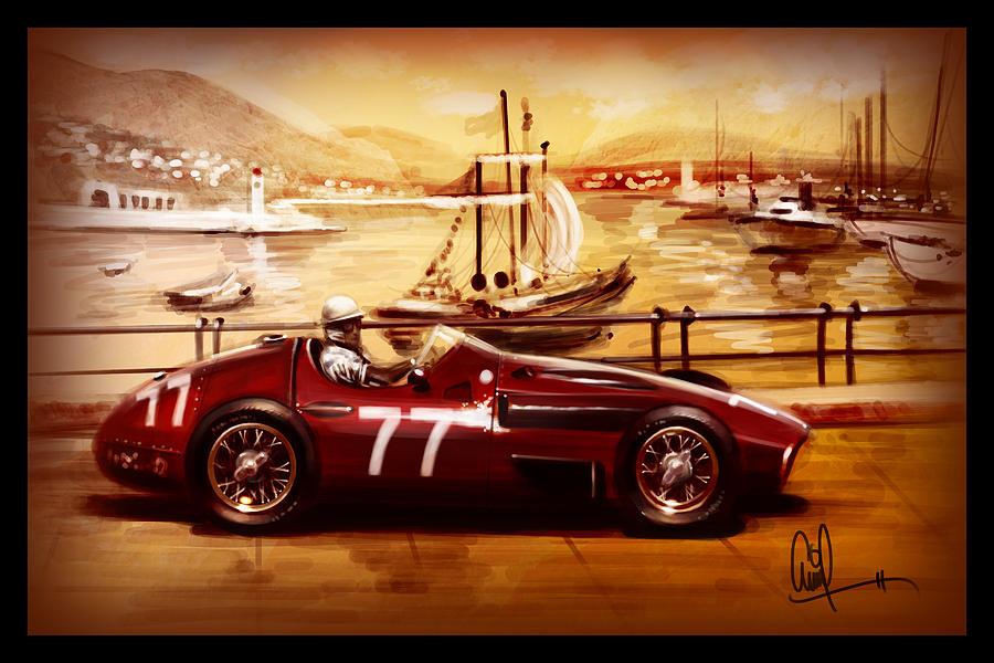 Race Track Wall Art >> 1957 Maserati Vintage Grand Prix Car Monaco Race Track Digital Art by Arvind Ramkrishna