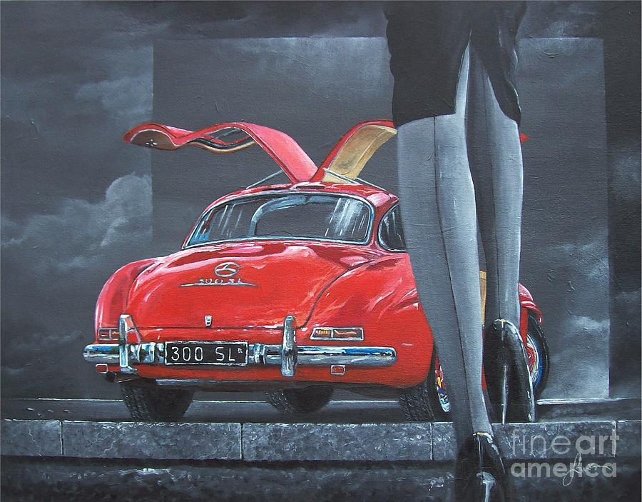 1957 Mercedes Benz 300 Sl Gullwing Coupe Painting by Sinisa Saratlic