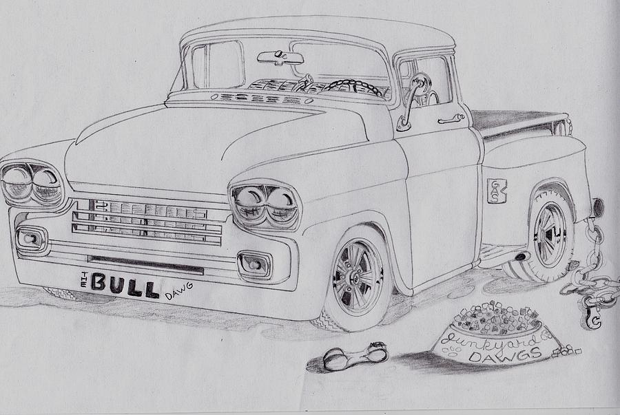 1958 Chevby Pick Up Junkyard Dawg Aka The Bull Dawg Painting by ...