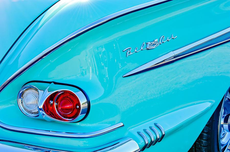 Chevrolet Bel Air Emblem Photograph - 1958 Chevrolet Belair Taillight 2 by Jill Reger