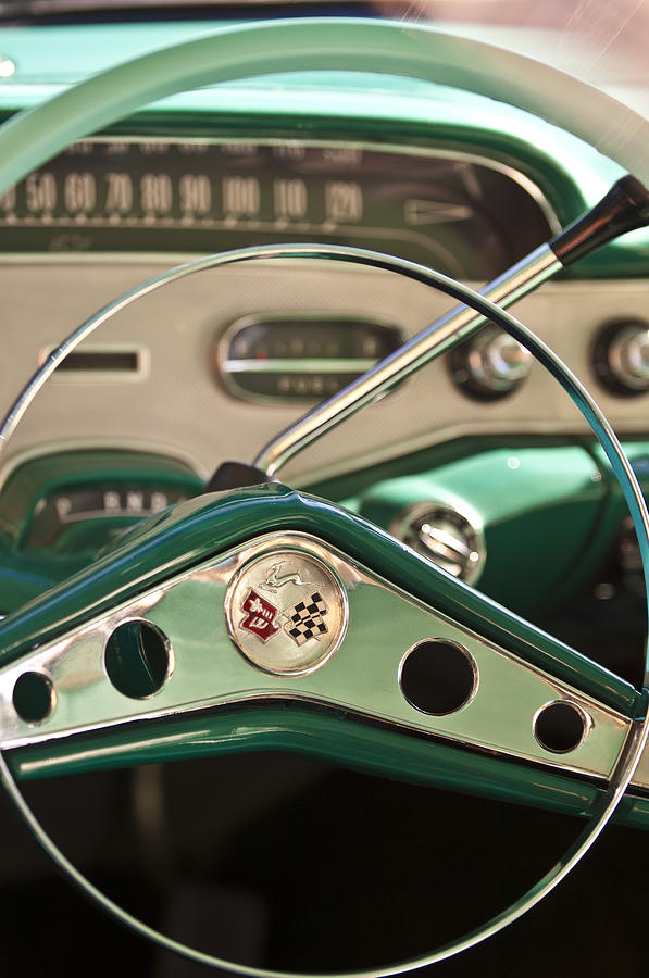 Chevy Photograph - 1958 Chevrolet Impala Steering Wheel by Jill Reger