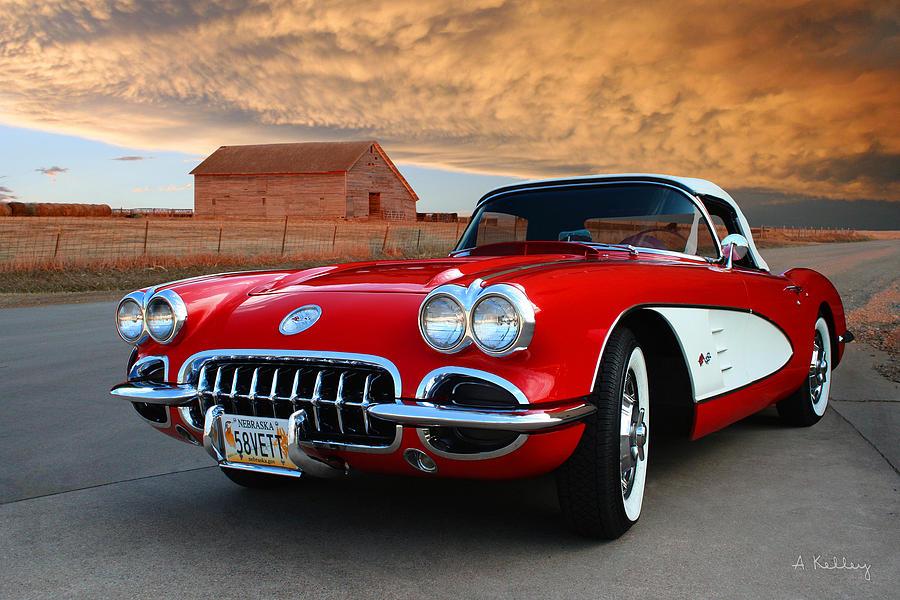 Red Corvette Photograph - 1958 Corvette by Andrea Kelley