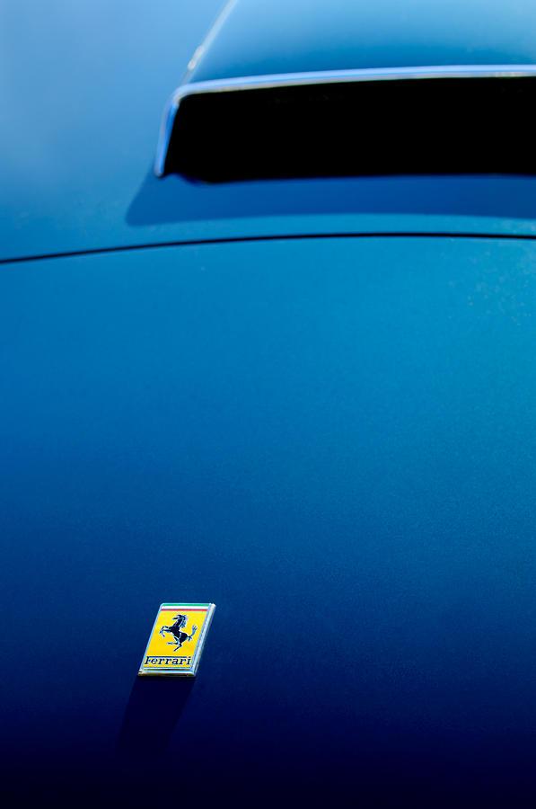 Supercar Photograph - 1958 Ferrari 250 Gt Lwb California Spider Hood Emblem by Jill Reger