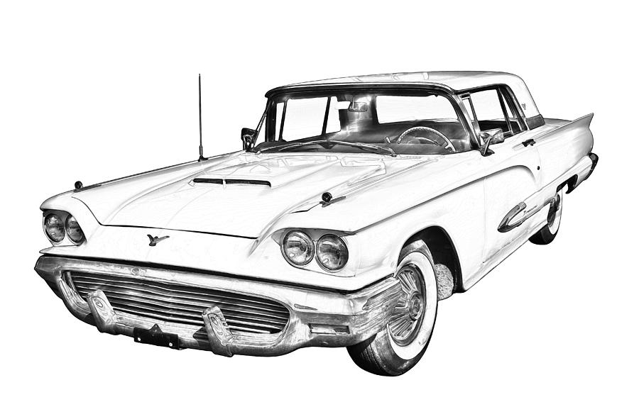 1958 ford thunderbird convertible sketch coloring page