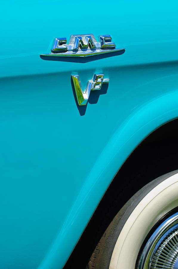 Classic Car Photograph - 1958 Gmc Series 101-s Pickup Truck Side Emblem by Jill Reger