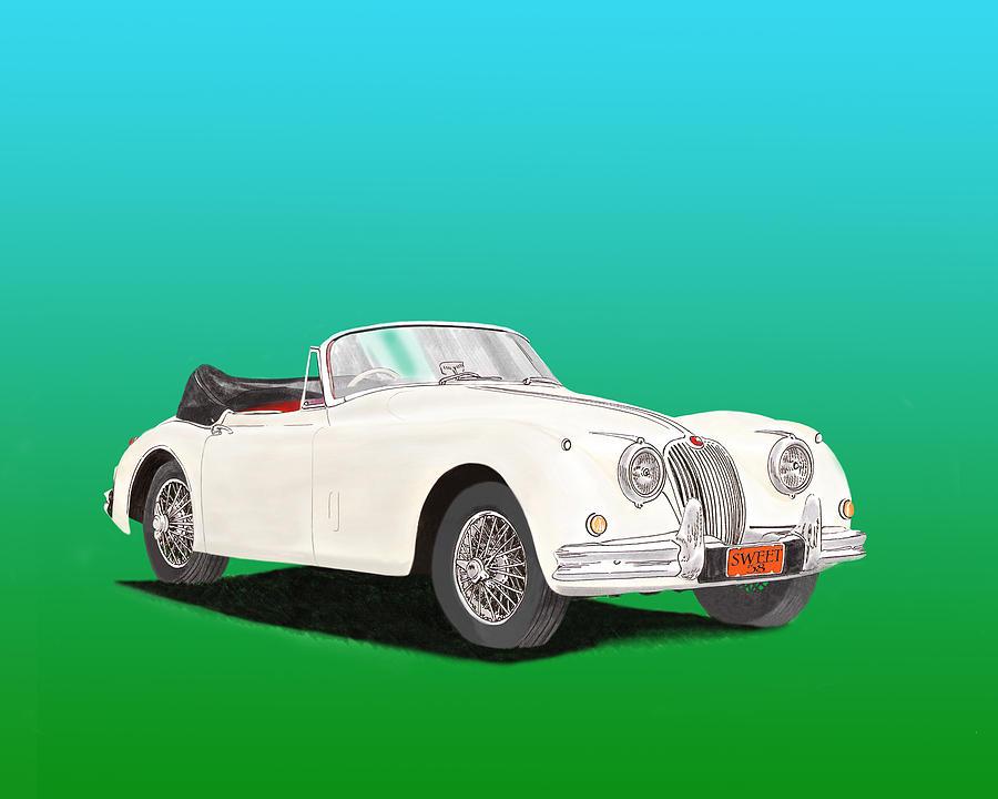 1958 Jaguar X K 150 S Cabriolet Painting