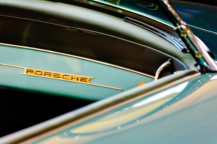 Sports Car Photograph - 1958 Porsche 356 A Speedster Dash Emblem by Jill Reger
