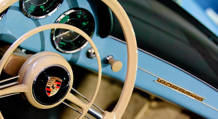 Sports Car Photograph - 1958 Porsche 356 A Speedster Steering Wheel Emblem by Jill Reger