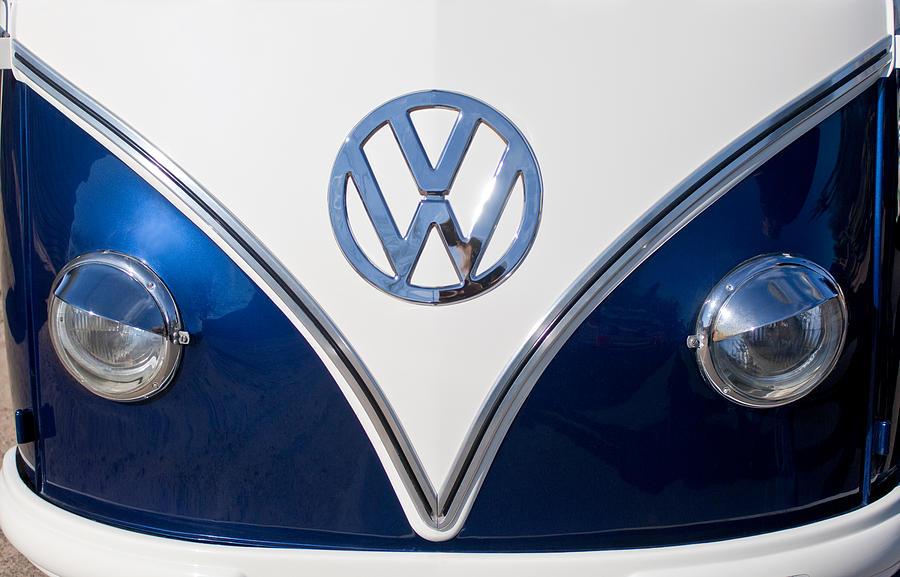 1958 Volkswagen Vw Bus Hood Emblem Photograph By Jill Reger