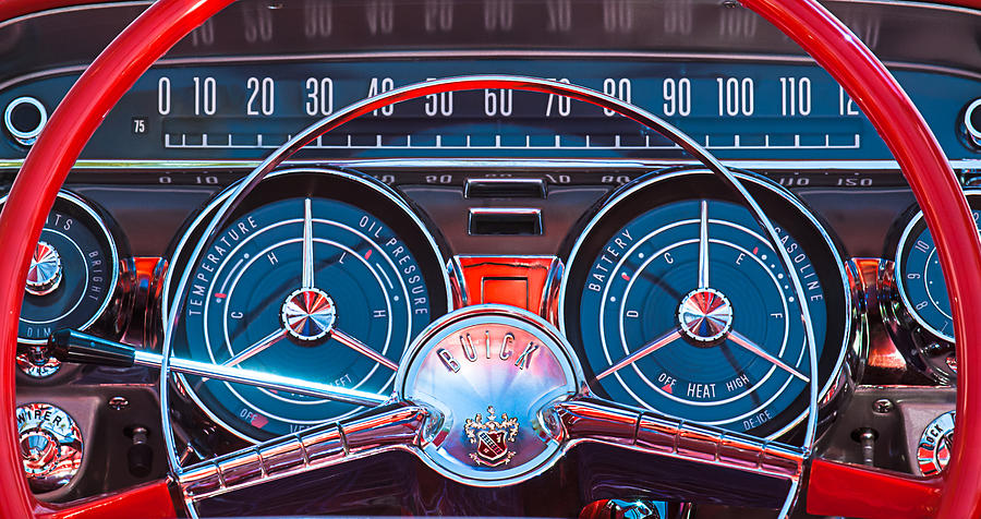 Car Photograph - 1959 Buick Lesabre Steering Wheel by Jill Reger