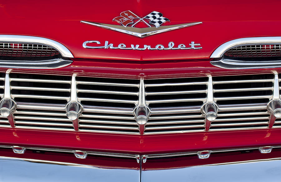 1959 Chevrolet Photograph - 1959 Chevrolet Grille Ornament by Jill Reger