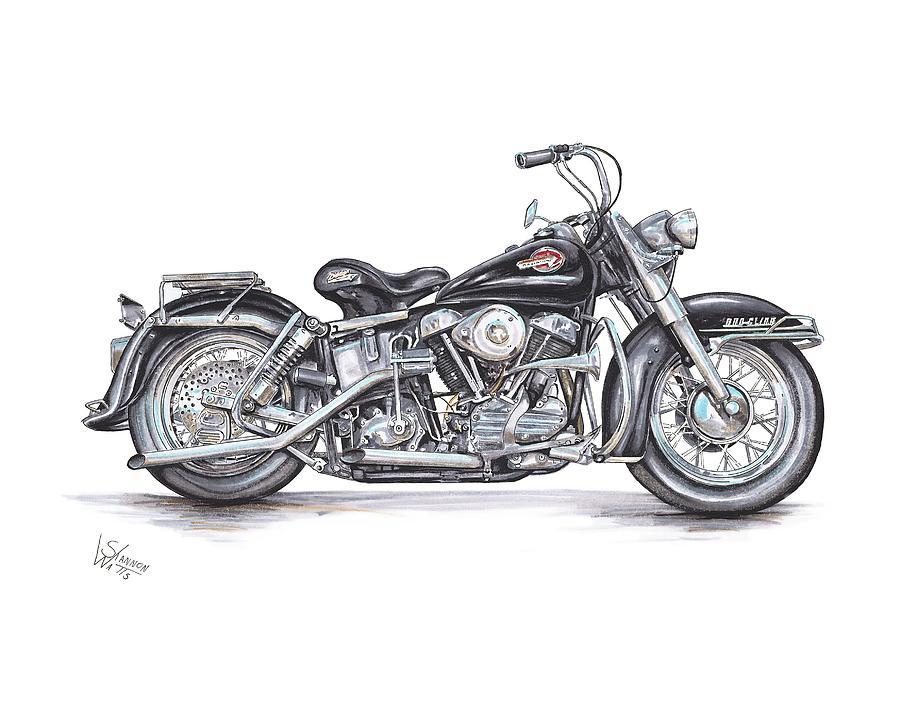 Harley Davidson Drawing - 1959 Harley Davidson Panhead by Shannon Watts