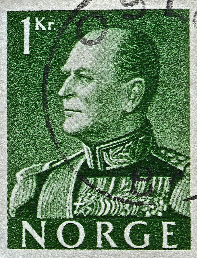 1959 Photograph - 1959 King Olav V Norway Stamp - Oslo Postmark by Bill Owen