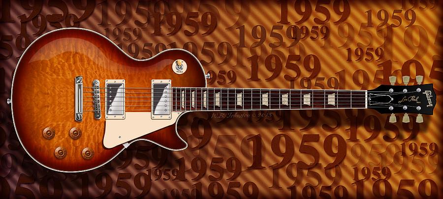 Gibson Les Paul Digital Art - 1959 by WB Johnston