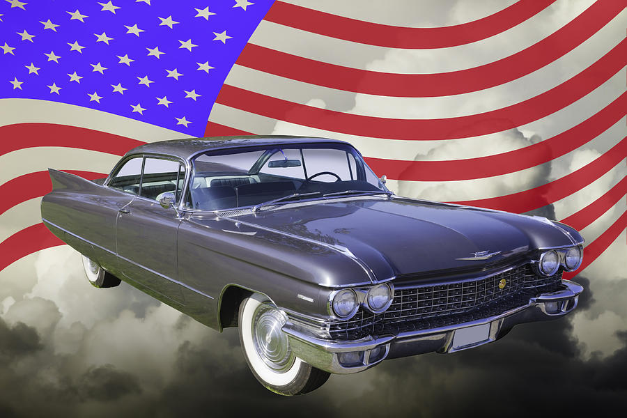 1960 Cadillac Luxury Car And American Flag Photograph By