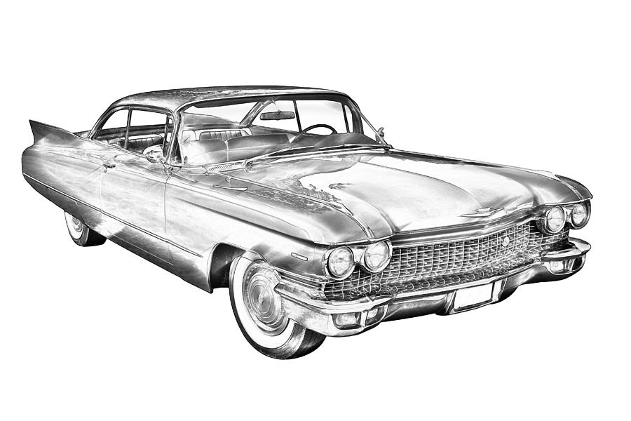 1960 cadillac luxury car illustration photograph by keith webber jr